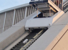 Funicular elevator to an observation deck and for maintenance in a soccer stadium