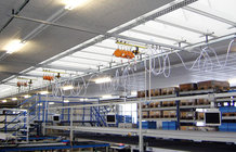 Equipment Crane in a fitting and installation company for windows