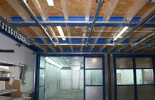 Overhead Monorail System with shifting bride in a paint shop